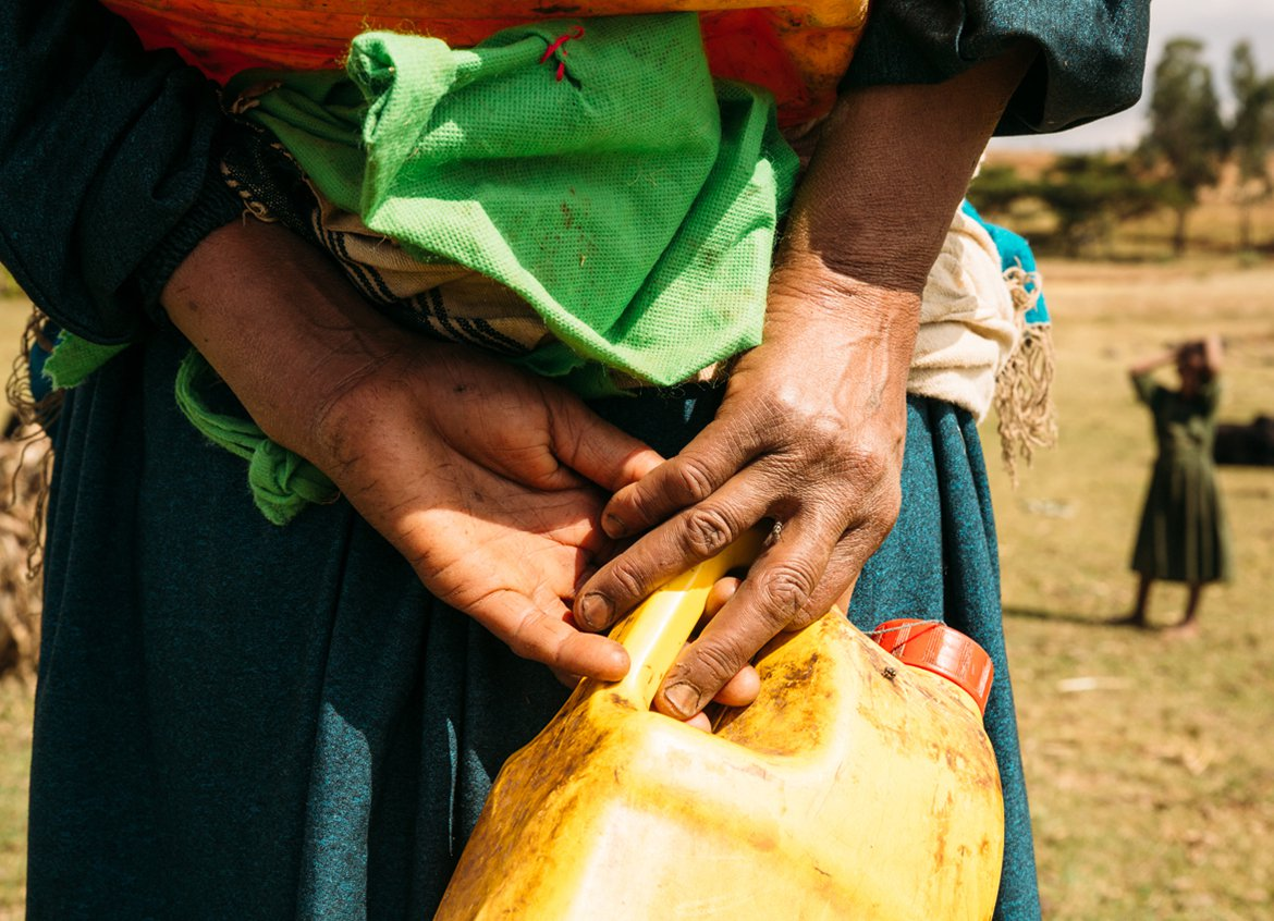 Women in Ethiopia walk to collect water