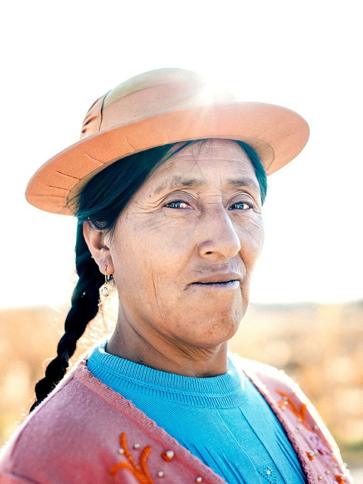 Beatrice wears a classic Huancayan hat in Peru