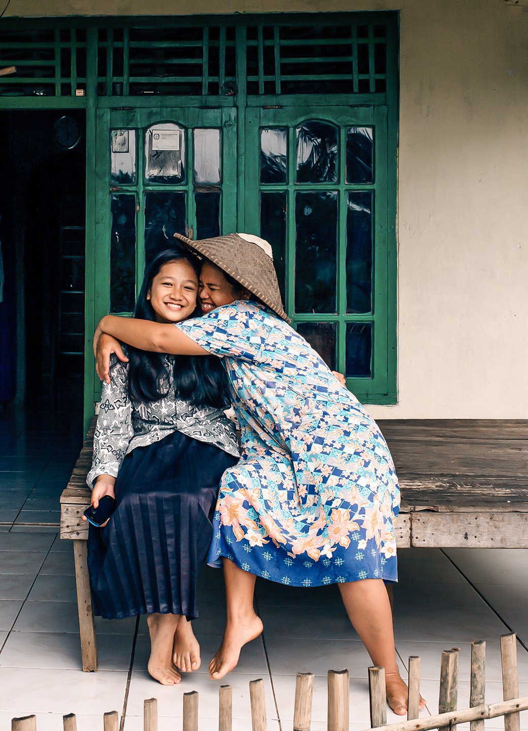 Anisa and her mother in Indonesia