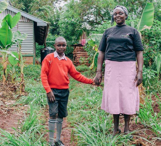 Sabina and son in Kenya